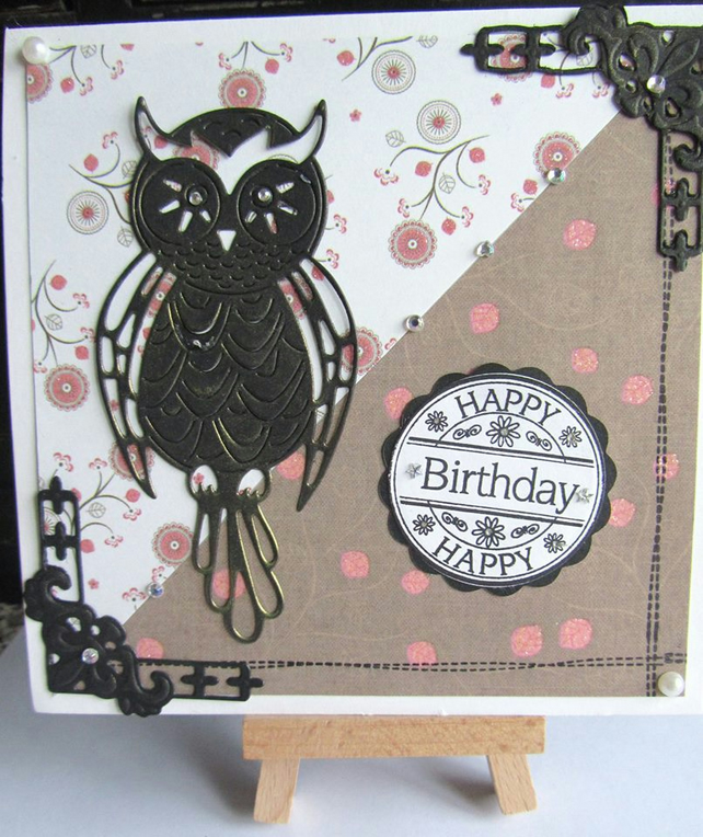 Hand crafted Owl birthday card..