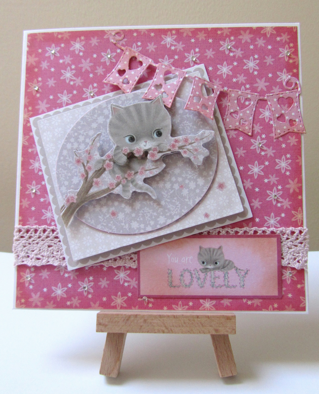Handmade decoupage kitten card..