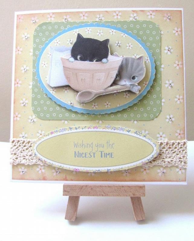 Handmade Decoupaged Kitten Card