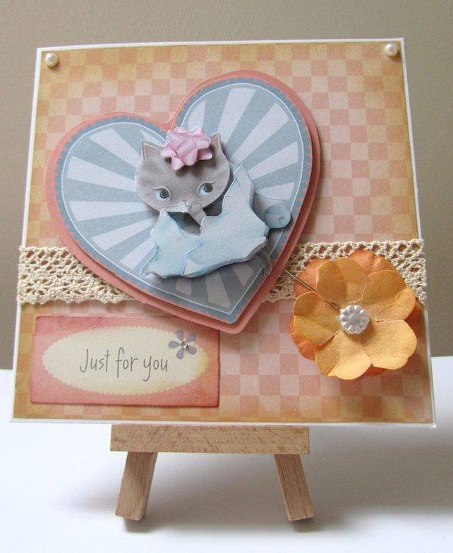 Kitten decoupaged card