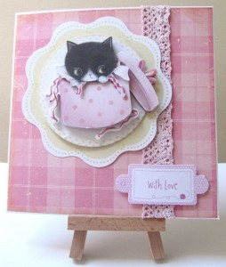 Kitten in a hatbox Decoupaged Card