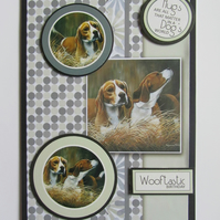 Handmade Beagle Birthday card,Dog card