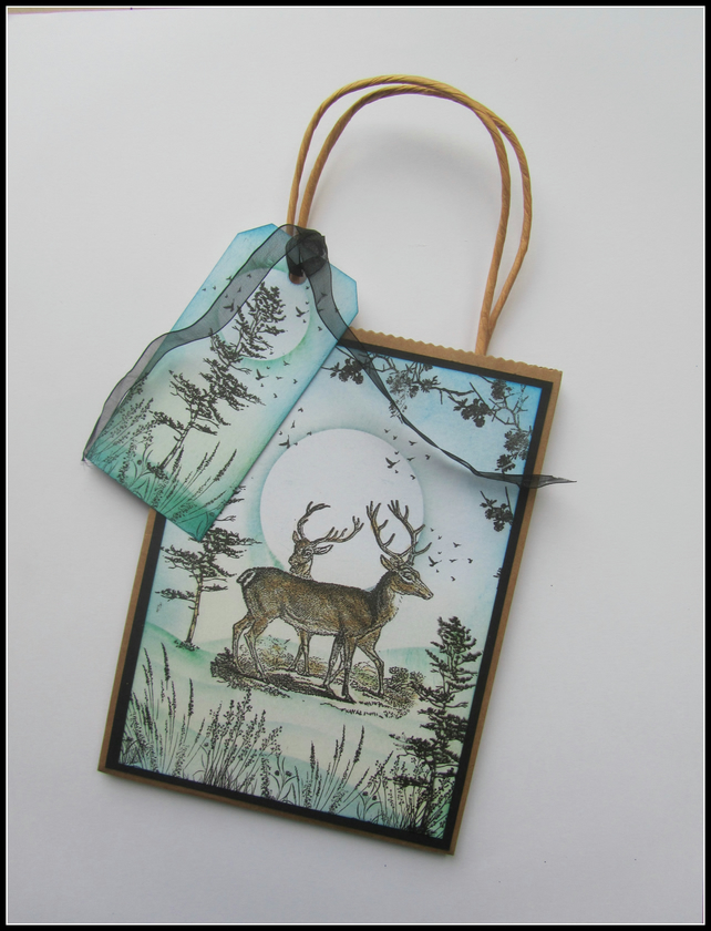 Stag gift bag n tag, Deer gift bag and tag
