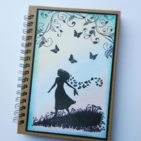 Handmade Lady notebook with butterflies Mothers day present