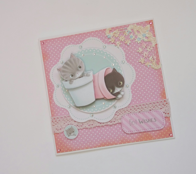 Kitten birthday card,Pink kitten birthday card, cat lovers card