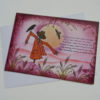 Moody scarecrow friendship card