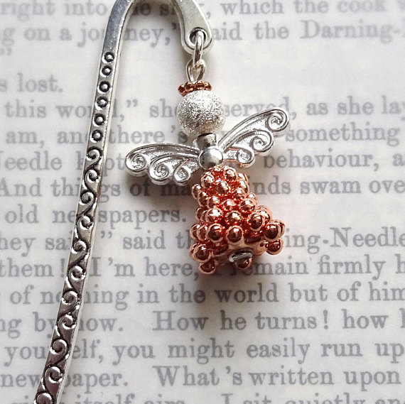 Metal angel book mark, Rose gold plated Angel, Gift for book lover,