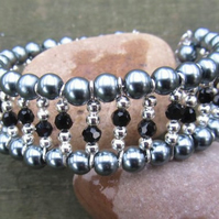 Pearl bracelet. Grey and black crystals,memory wire bracelet Mothers day gift