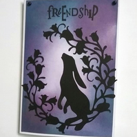 Friendship card, mixed media card, Hare card,