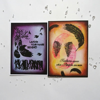"2 Inspirational cards, Hand made card pack, 7"" x 5"" hand made cards, Angel card,"
