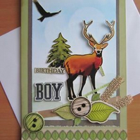 Male Handmade Deer Birthday card