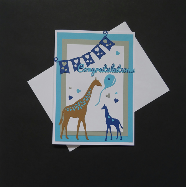 New baby card, Baby boy card, Hand made card,Baby giraffe, Blue baby card