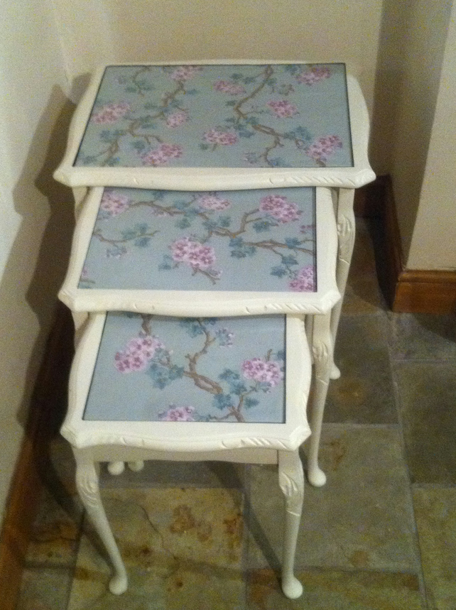 Set of three shabby chic nesting tables folksy