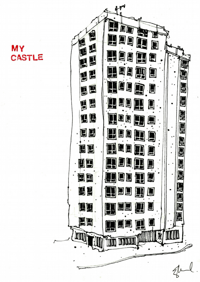 Print of line drawing entitled My Castle