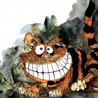Grinning Cheshire Cat Card - Alice in Wonderland