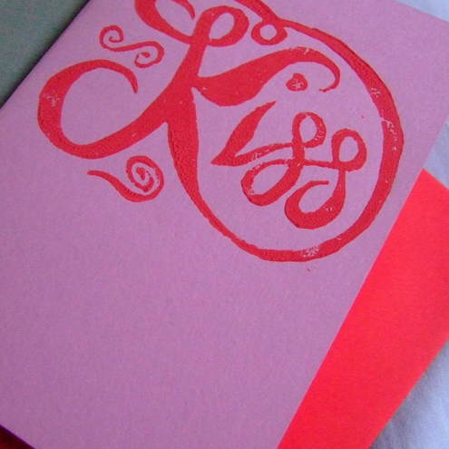 'Kiss' Linoprint Card