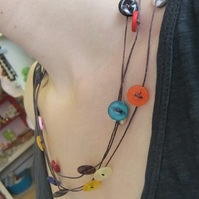 Extra Long Button Necklace