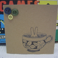 Dust Bunny In A Cup Card.