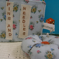 Flowery Blue Needle Book and Pin Cushion.