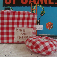Gingham Needle Case and Pincushion.