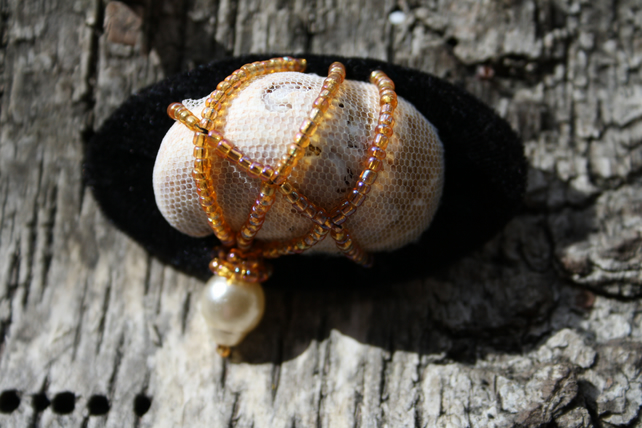 Light brown sea shell brooch with mustard color beads FREE UK SHIPPING