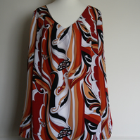 Red or Green Plus size tunic with v type neck and slits on both sides