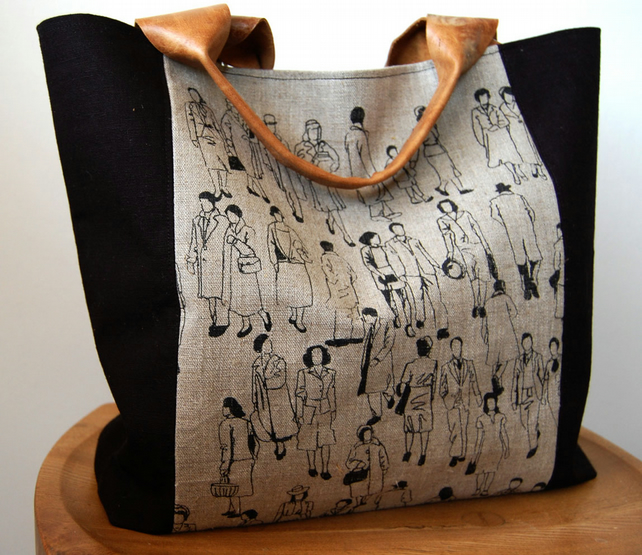 "Hand printed Linen panel handbag ""Congregation"" design"