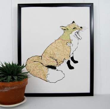 Screen print of a British fox with a collage of vintage map paper