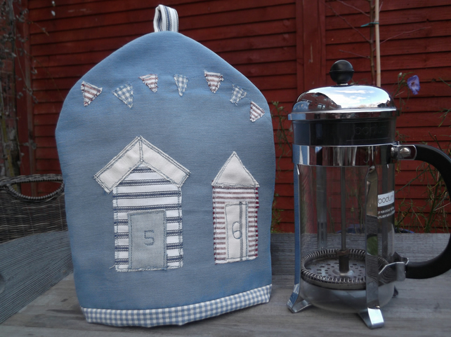 Coastal cafetiere cosy with beach huts and bunting