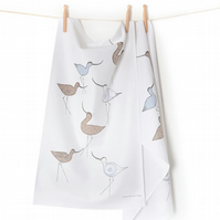Tea Towel Coastal Screen Printed Avocets, dusky blues, greys and neutrals,
