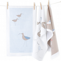 Screen Printed Tea Towel Curlews, sandy birds, duck egg wing, blue grey stripes