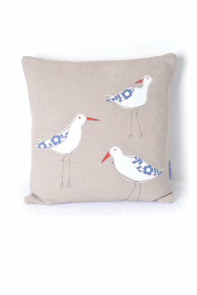 Applique Cushion Oystercatchers, pale brown bird, grey beak, duck egg blue wing