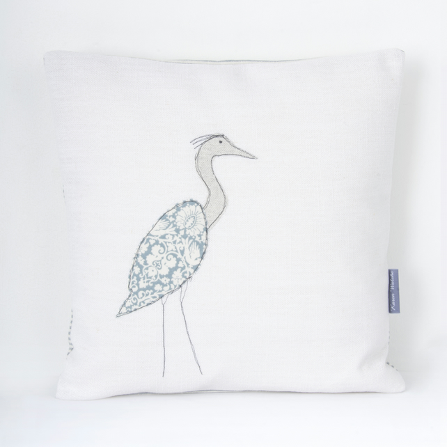 Heron Cushion Appliquéd Coastal Bird