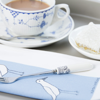 Coastal Napkins Wading Birds Screen Printed Set of Three (blue)