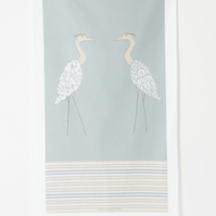 Tea Towel Coastal Screen Printed Herons Duck egg blue green