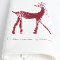 Red and White Christmas Reindeer Napkins (pair)