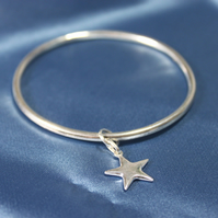Sterling Silver Bangle and Star Charm