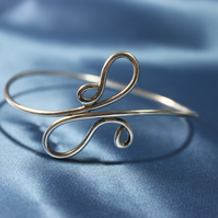 Swirl Silver Wire Bangle