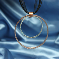 Silver and Copper Circles Pendant