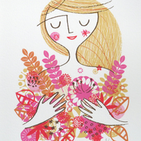 Flower Girl original screen print