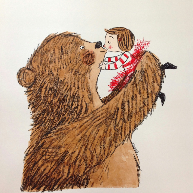 A Bear Kiss, an original screen print and hand water coloured illustration