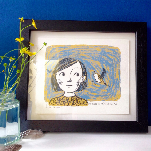 A little bird told me original screen print
