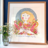 Skyla with flowers original screen print