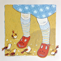 Feeding the birds original screen print