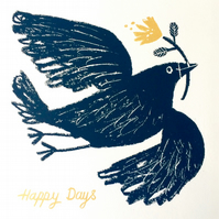 Happy Days, Slate grey Bird, original screen print