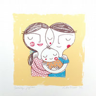 Family Jigsaw hand pulled original screen print