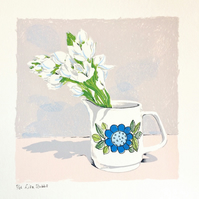 Mum's Meakin milk jug floral screen print wall art