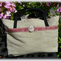 Handmade Cream, Black and Red Solid Handled Handbag.