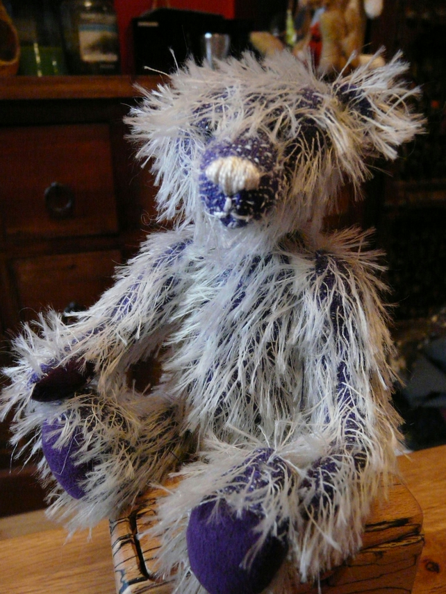 "8"" Handmade, Jointed Mohair Bear. Purple and Cream"