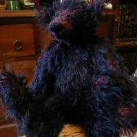 "8"" Handmade, Jointed Mohair Teddy Bear. Black and Red."